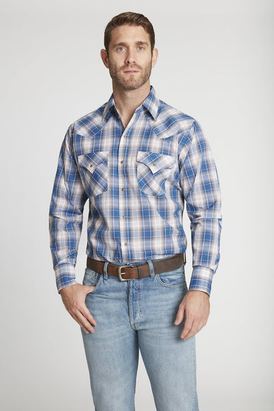 Men's Long Sleeve Classic Plaid Shirt in Blue Plaid