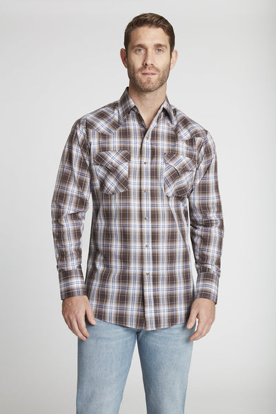 Men's Long Sleeve Classic Plaid Shirt in Brown Plaid