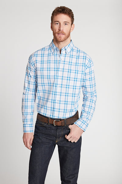 Men's Black Label Premium Cotton Plaid Button-Down in Blue | Ely Cattleman