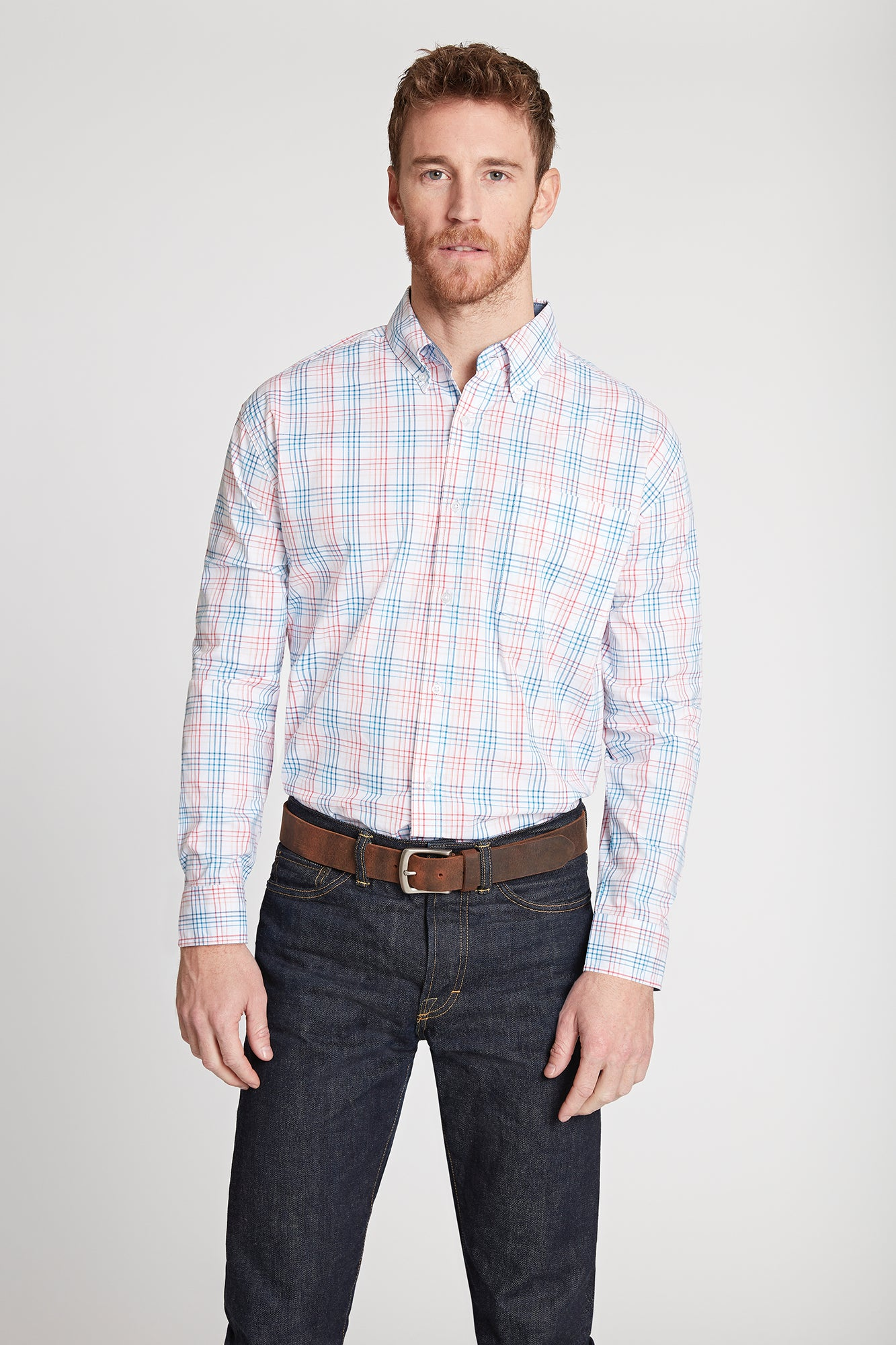 Men's Black Label Premium Cotton Plaid Button-Down in Coral | Ely Cattleman