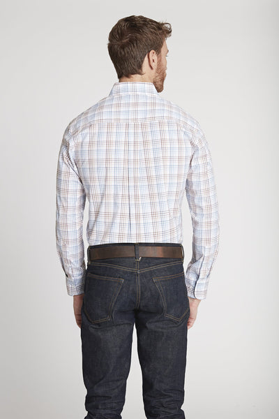 Men's Black Label Premium Cotton Poplin Plaid Button-Down in White Plaid