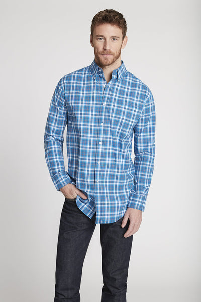 Men's Black Label Premium Cotton Poplin Plaid Button-Down in Navy Plaid