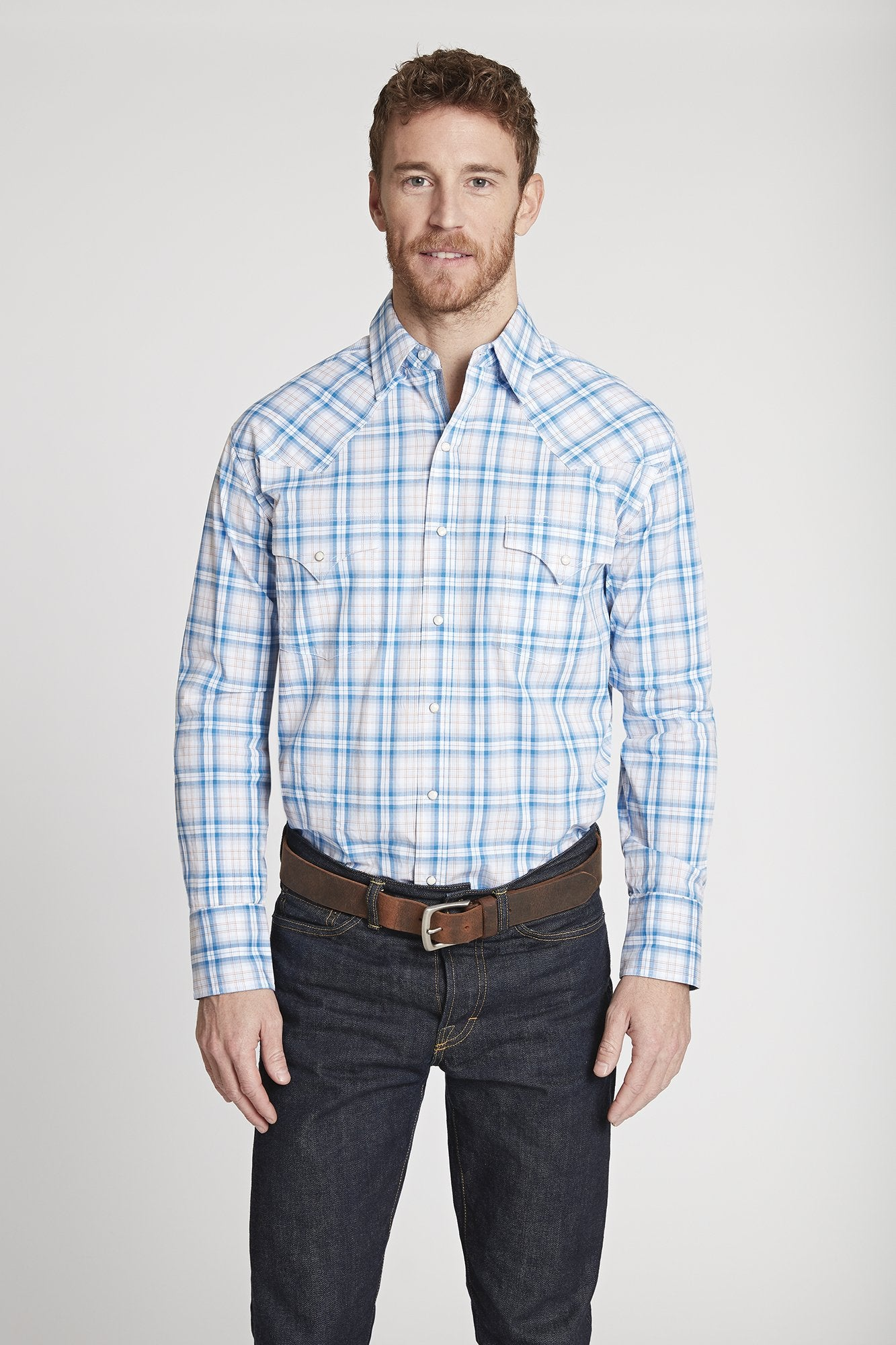 Ely Cattleman Blue Tone On Tone Solid Shirt