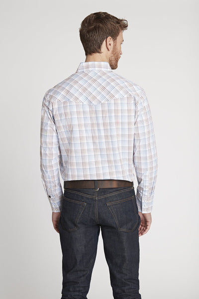 Men's Black Label Premium Cotton Plaid Western Shirt in White Plaid