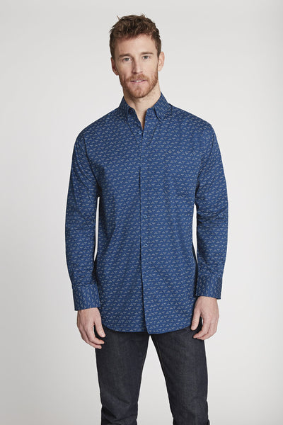 Men's Black Label Premium Cotton Poplin Button-Down in Navy Print