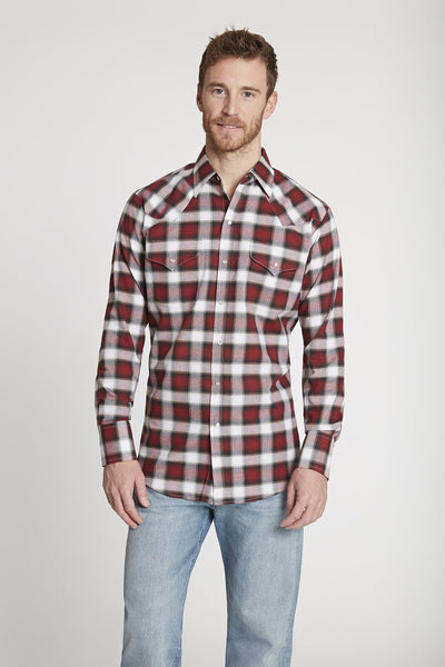 Men's Long Sleeve Western Oxford Plaid Shirt in Burgundy Plaid