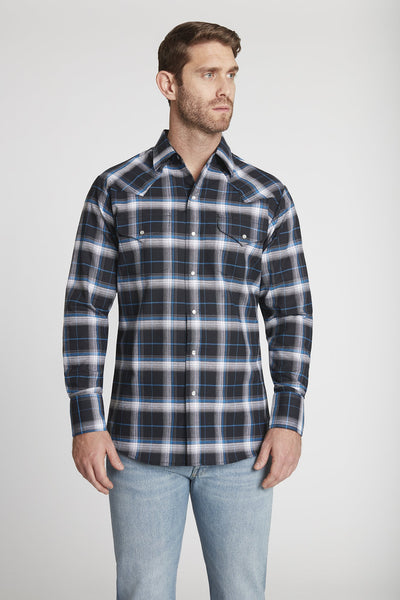 Men's Long Sleeve Western Oxford Plaid Shirt in Black Plaid