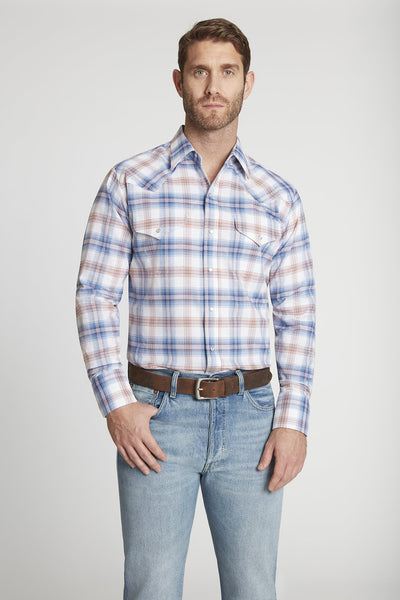 Men's Long Sleeve Western Oxford Plaid Shirt in Blue Plaid