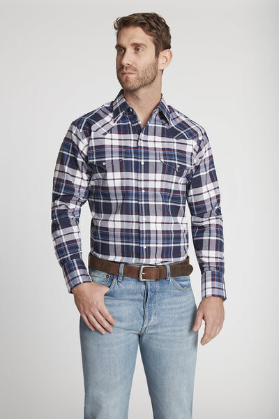 Men's Long Sleeve Western Oxford Plaid Shirt in Navy Plaid