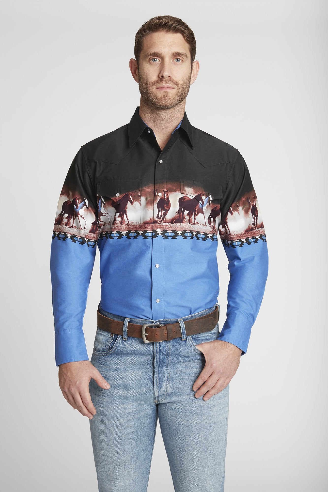 Men's Long Sleeve Horse Border Print Shirt in Blue Border Print