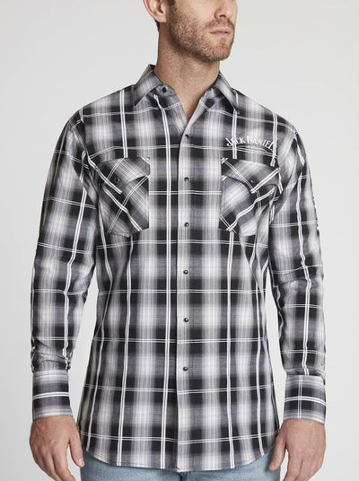 Men's Long Sleeve Jack Daniel's® Plaid Shirt With Sleeve Embroidery in Black Plaid