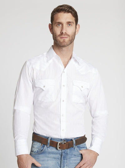 Men's Long Sleeve Metallic Western Shirt in White