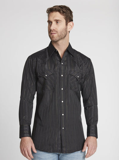 Men's Long Sleeve Metallic Western Shirt in Black