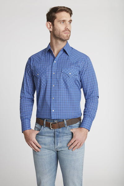 Men's Long Sleeve Mini Check Print Shirt in Blue Check