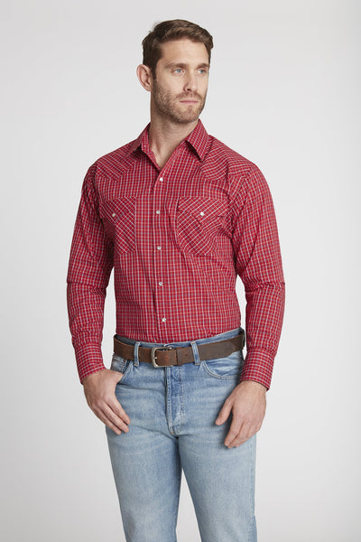 Men's Long Sleeve Mini Check Print Shirt in Burgundy Check