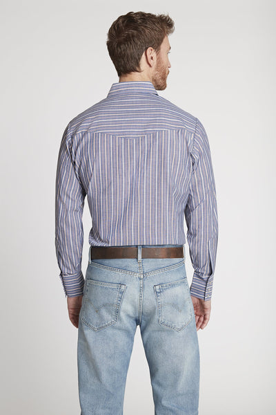 Men's Long Sleeve Chambray Striped Shirt in Chambray Stripe