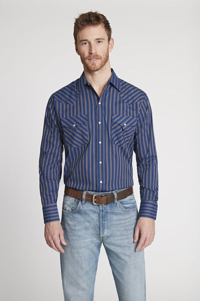 Men's Long Sleeve Striped Shirt in Blue Stripe