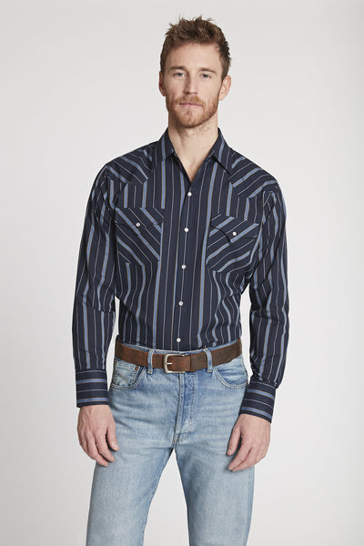 Men's Long Sleeve Striped Shirt in Navy Stripe