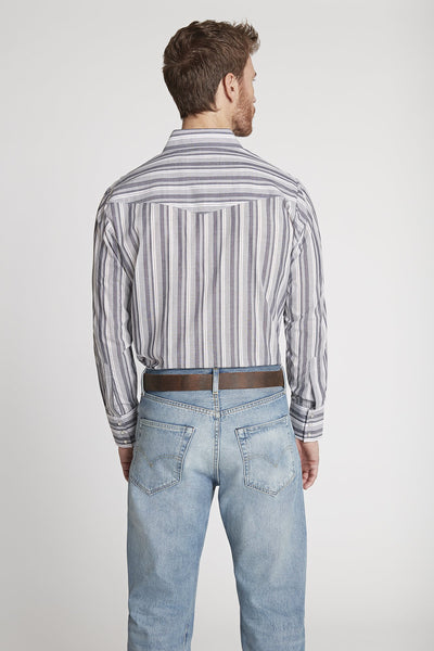 Men's Long Sleeve Striped Shirt in Grey Stripe