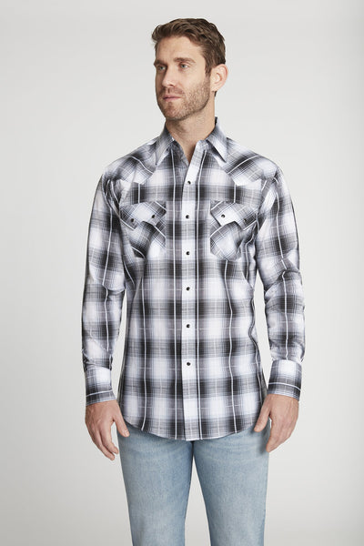 Men's Long Sleeve Textured Dobby Plaid Shirt in Black Plaid