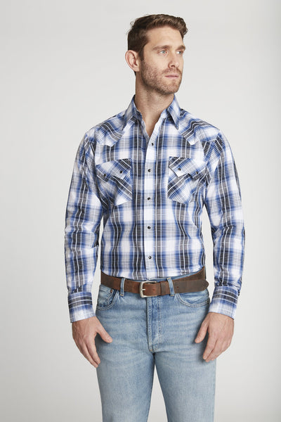Men's Long Sleeve Textured Dobby Plaid Shirt in Royal Plaid