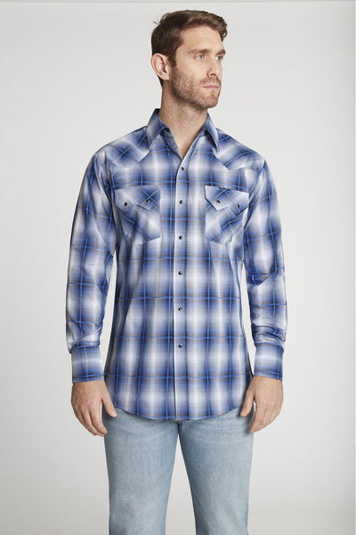 Men's Long Sleeve Textured Dobby Plaid Shirt in Navy Plaid