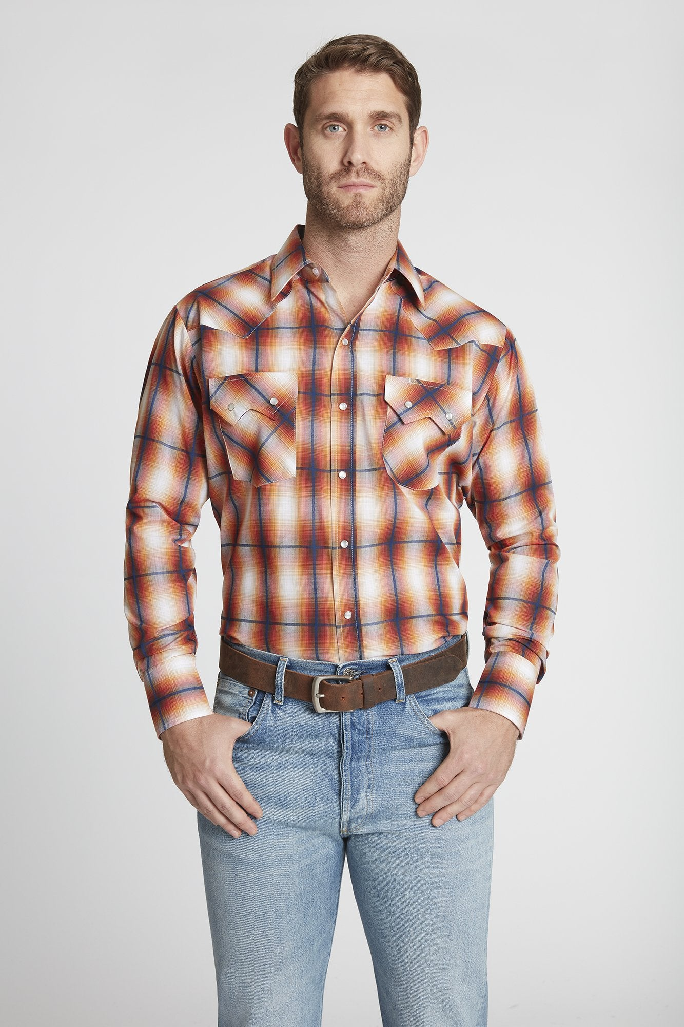 Men's Long Sleeve Textured Dobby Plaid Shirt in Rust Plaid