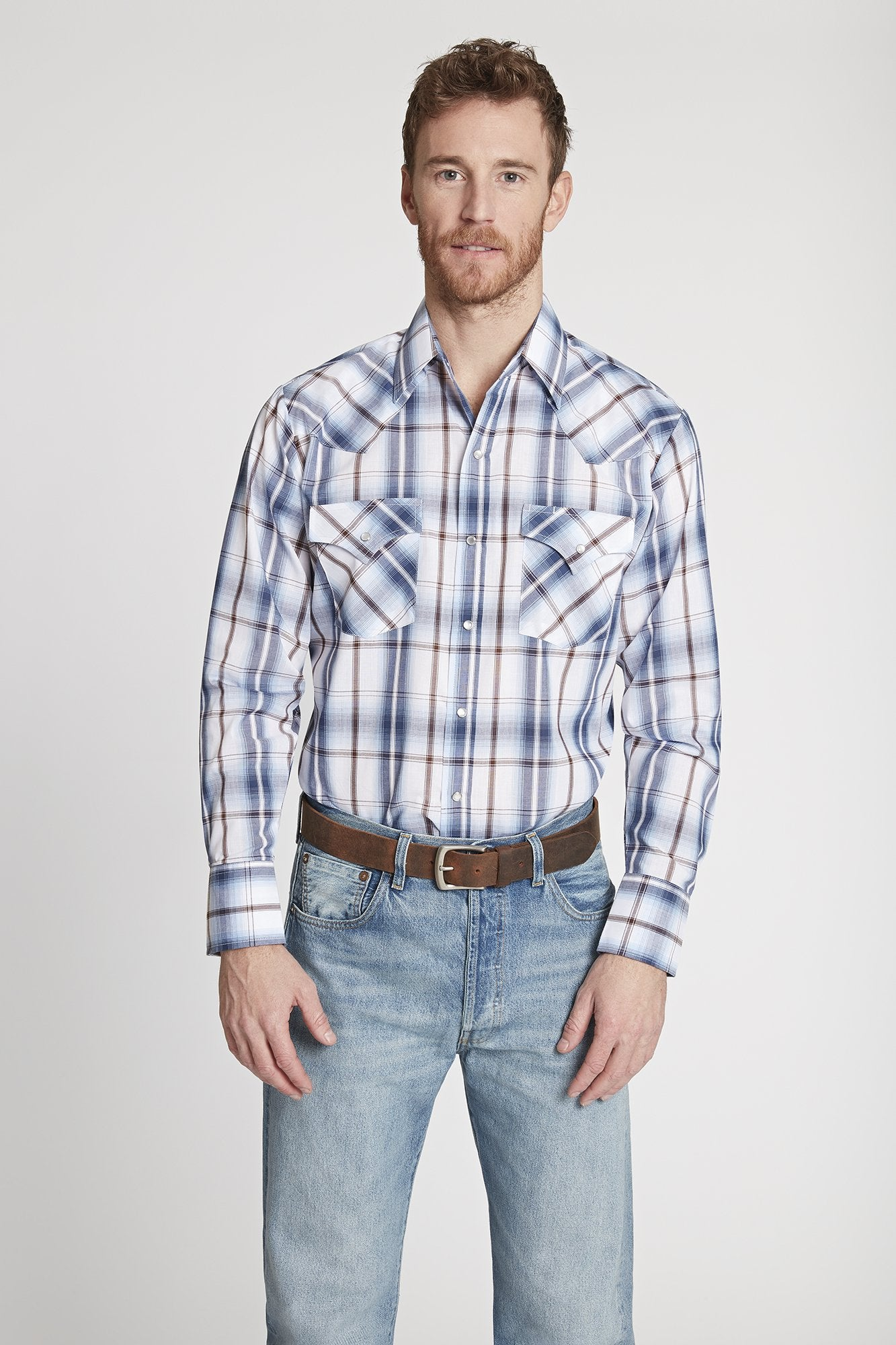 Men's Long Sleeve Chambray Plaid Shirt in Chambray Plaid