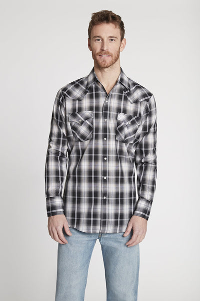 Men's Long Sleeve Plaid Shirt in Black Plaid