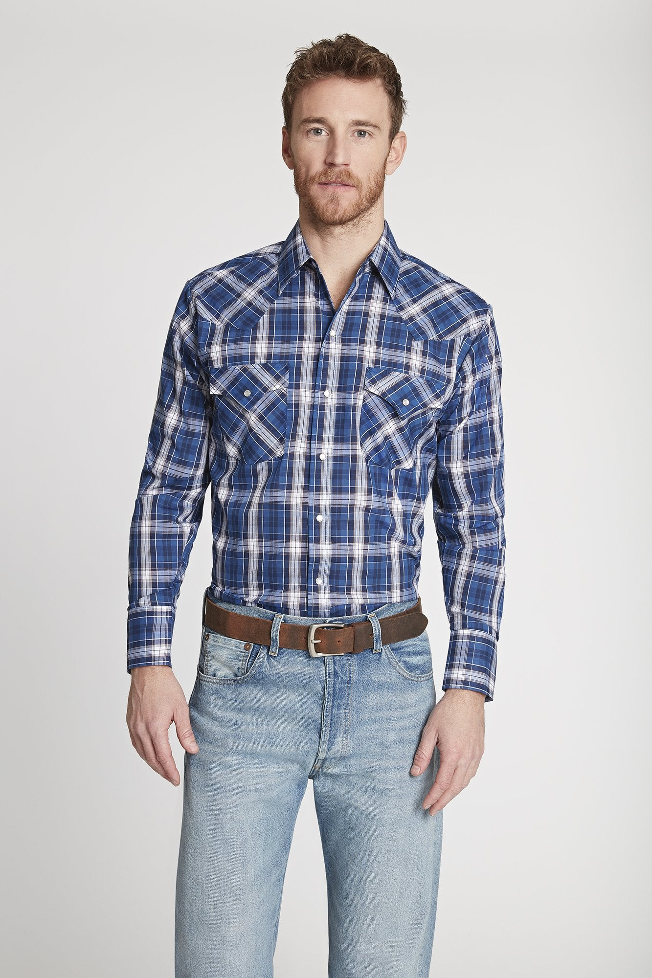 Men's Long Sleeve Plaid Shirt in Blue Plaid