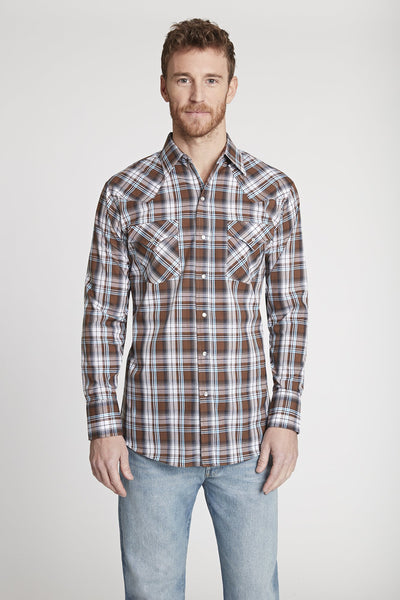 Men's Long Sleeve Plaid Shirt in Brown Plaid