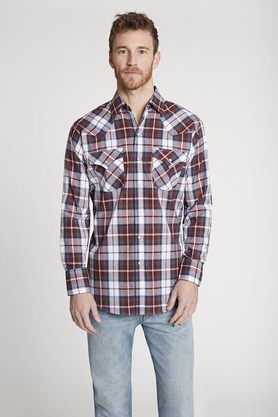 Men's Long Sleeve Plaid Shirt in Burgundy Plaid