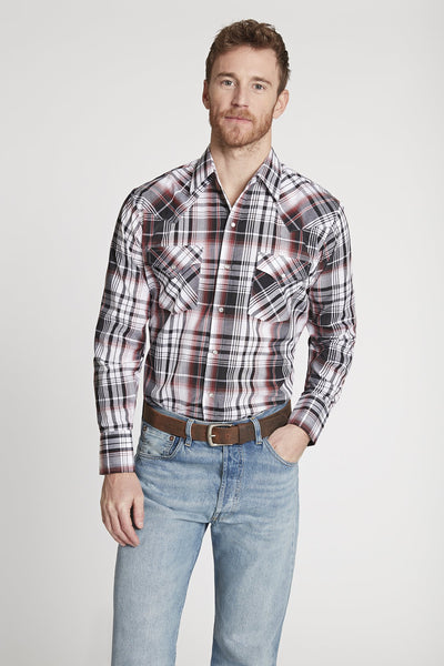 Men's Long Sleeve Plaid Shirt in Grey Plaid