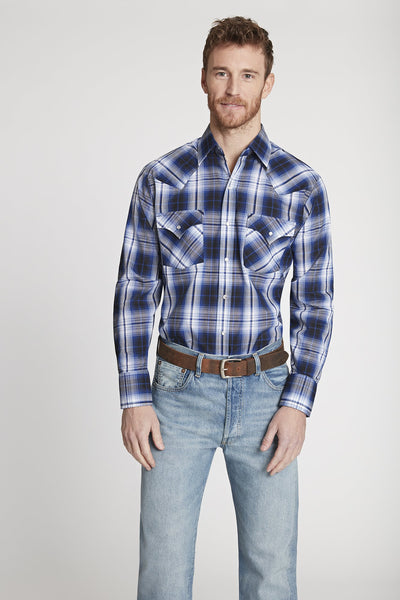 Men's Long Sleeve Plaid Shirt in Navy Plaid