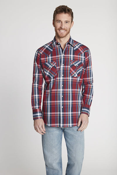 Men's Long Sleeve Plaid Shirt in Red Plaid