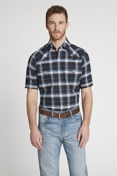 Men's Short Sleeve Western Oxford Plaid Shirt in Black Plaid