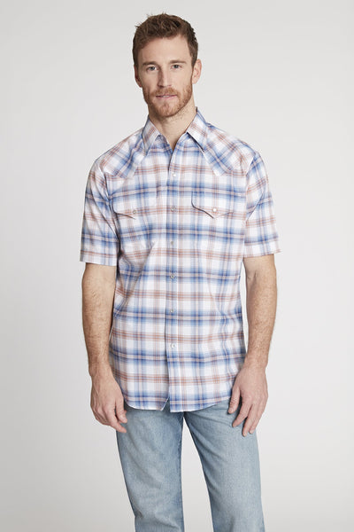 Men's Short Sleeve Western Oxford Plaid Shirt in Blue Plaid