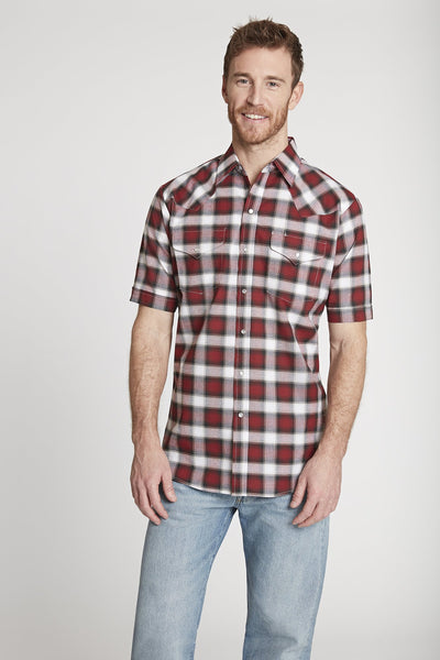 Men's Short Sleeve Western Oxford Plaid Shirt in Burgundy Plaid
