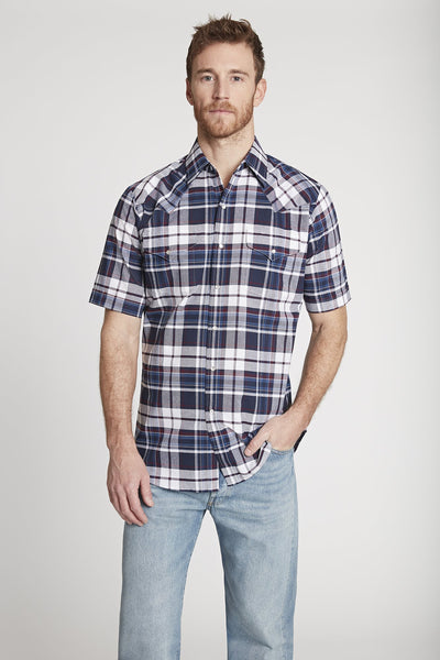 Men's Short Sleeve Western Oxford Plaid Shirt in Navy Plaid