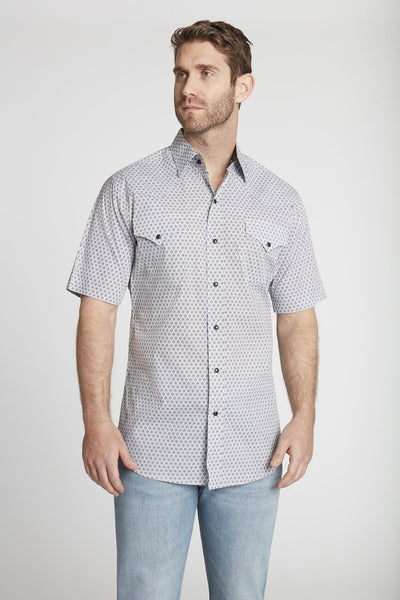 Men's Short Sleeve Cotton Geo Print Shirt in White Geo Print