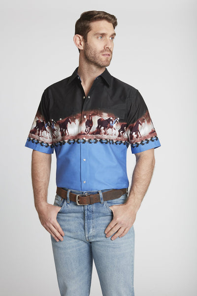 Men's Short Sleeve Horse Border Print Shirt in Blue Border Print
