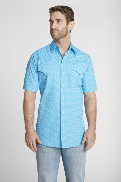 Men's Short Sleeve Cotton Mini Geo Print Shirt in Turquoise Mini Geo