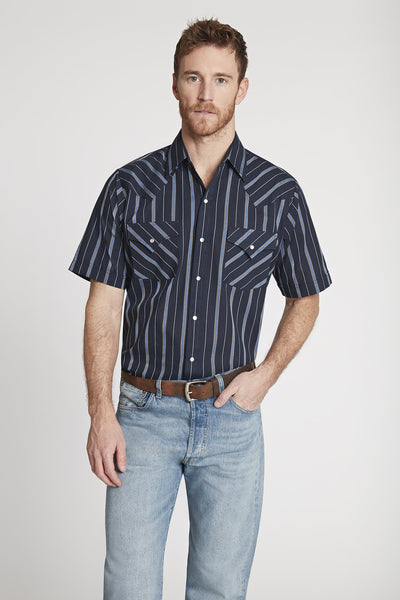 Men's Short Sleeve Striped Shirt in Navy Stripe