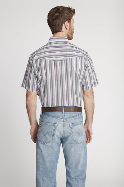 Men's Short Sleeve Striped Shirt in Grey Stripe