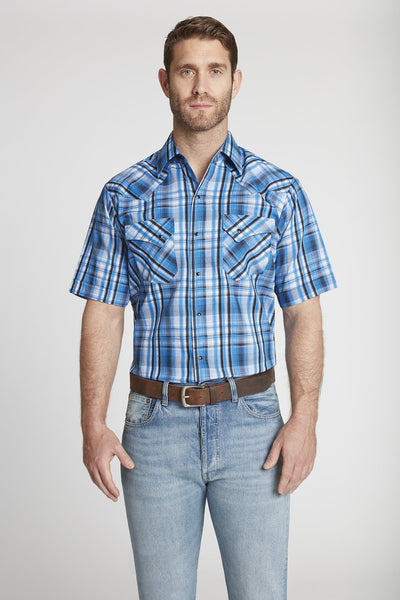 Men's Short Sleeve Textured Dobby Plaid Shirt in Blue Plaid