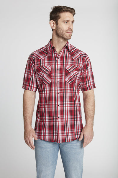 Men's Short Sleeve Textured Dobby Plaid Shirt in Red Plaid