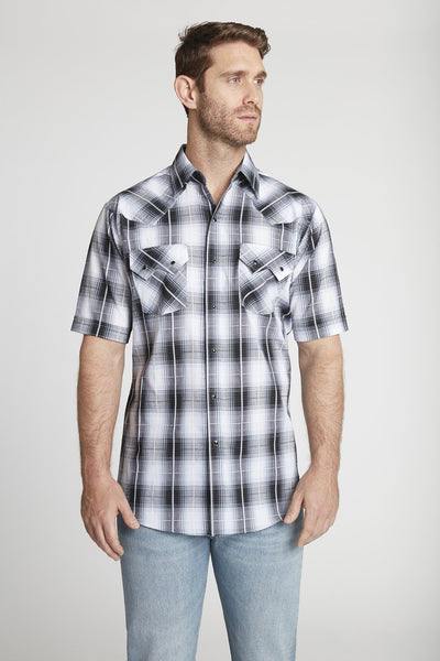 Men's Short Sleeve Textured Dobby Plaid Shirt in Black Plaid