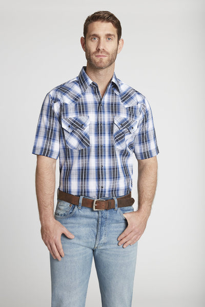 Men's Short Sleeve Textured Dobby Plaid Shirt in Royal Plaid