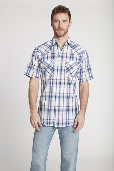 Men's Short Sleeve Chambray Shirt in Chambray Plaid