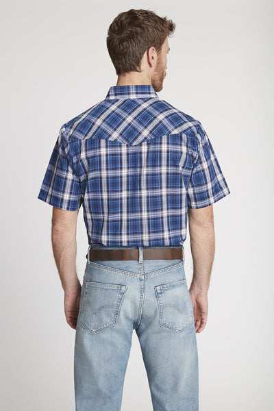 Men's Short Sleeve Plaid Shirt in Blue Plaid